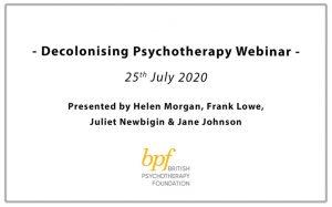 Decolonising Psychotherapy webinar image